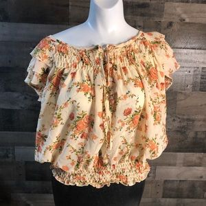 Marisol Womens Blouse Top Size XL Cream Pink